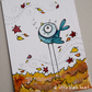 autumn bluebird in leaves - original aceo