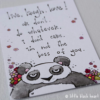 panda bear don't care - original aceo