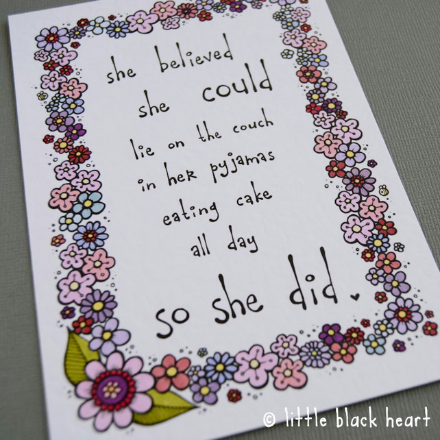 believe quote - hand coloured print (A6)
