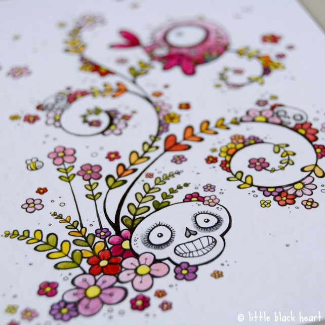 swirly skulls, blossom and bird - original illustration (A6)