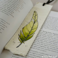 bookmark with original illustration - green feather