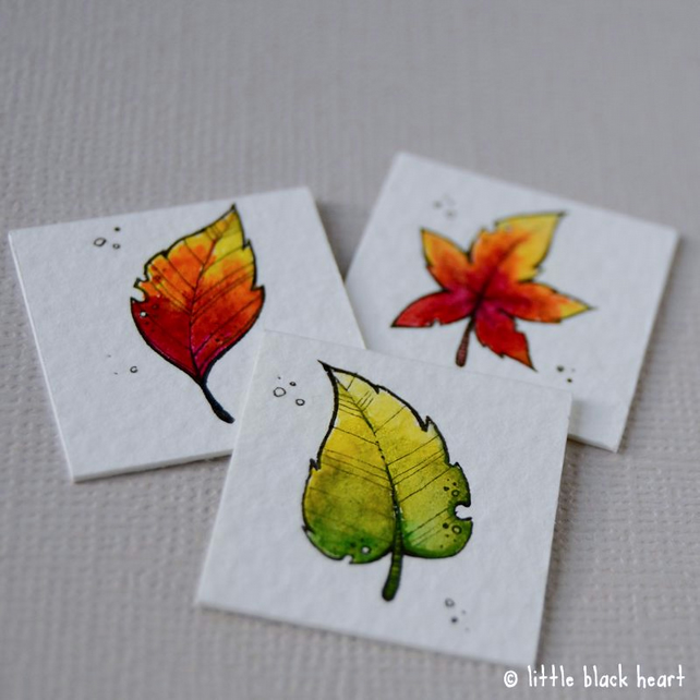 3 autumn leaves - original inchies triptych