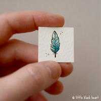 single feather (blue) - original inchie