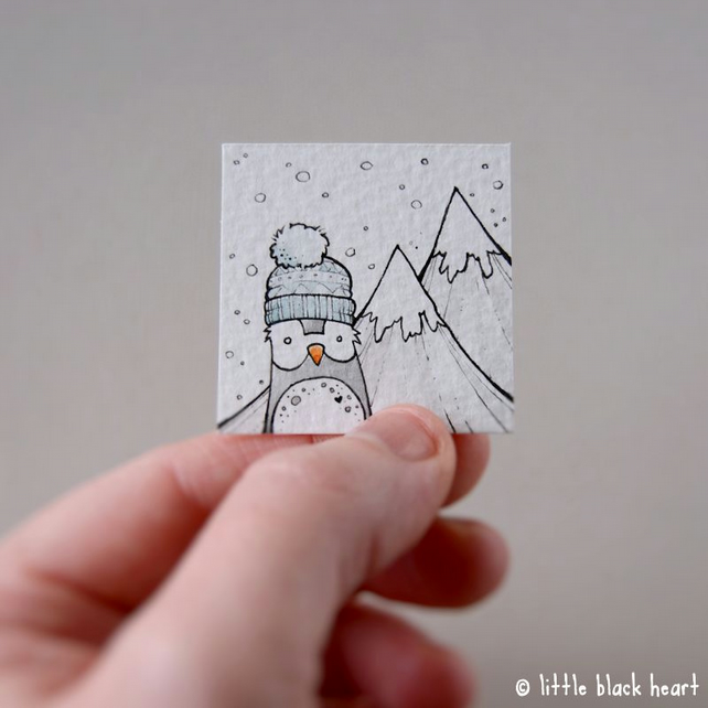 mountain penguin - original miniature artwork