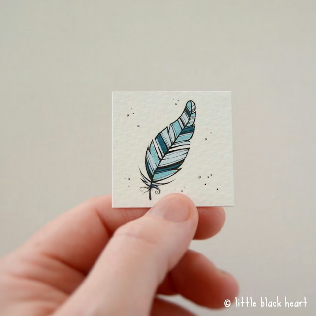 blue feather - original miniature artwork
