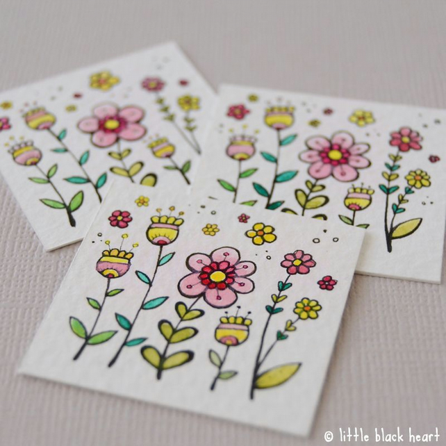 spring blooms and blossom - miniature artwork