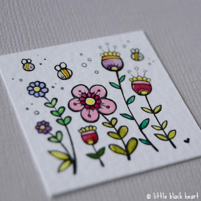 spring flowers and bees - miniature artwork