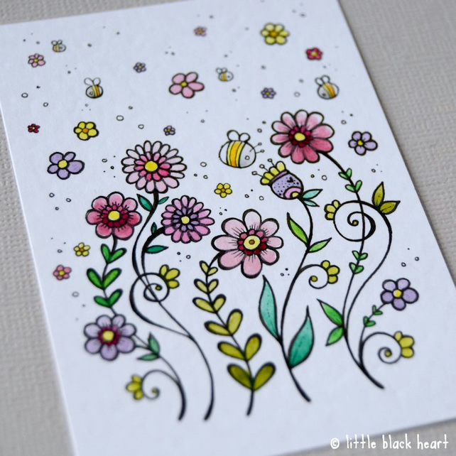 little blooms and bees - original aceo