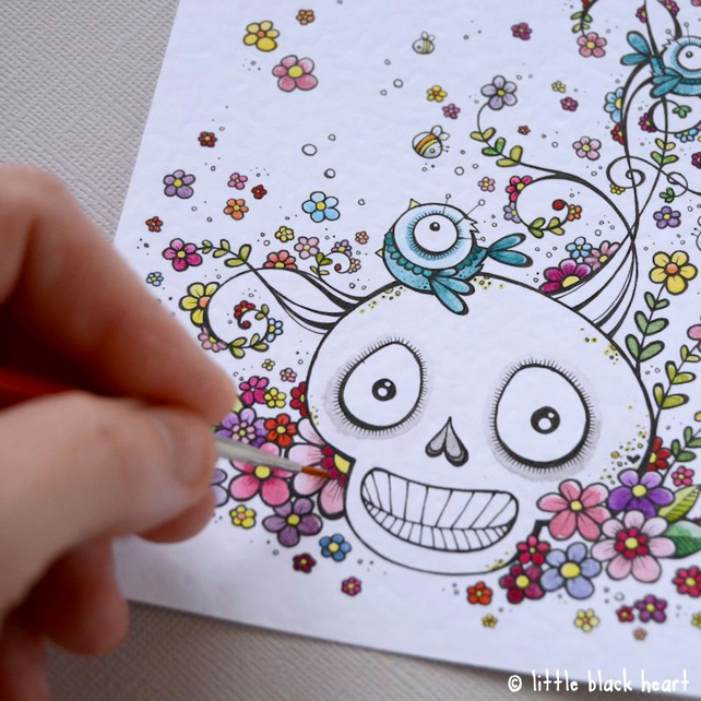 swirly summer skull - original illustration