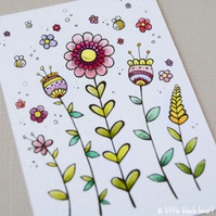 summer flowers - original aceo