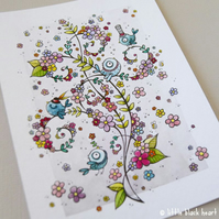 swirly birds and summer blooms - original illustration (A6)