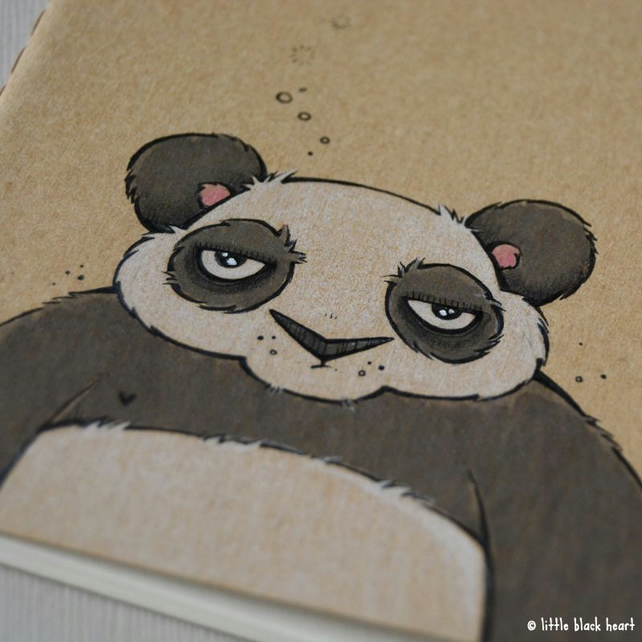 pocket notebook with original illustration - meh panda