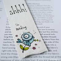 bookmark with original illustration - reading bird