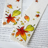 bookmark with original illustrion - autumn leaves