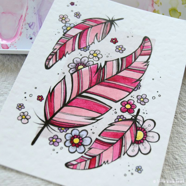 floating feathers and flowers - original aceo