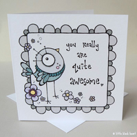 quite awesome - greetings card (blue)