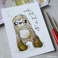 zombie sloth - original aceo