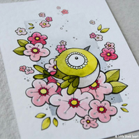 white-eye in the cherry blossom - original aceo