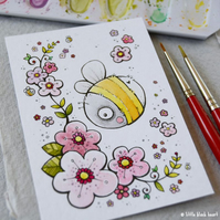 bumble bee and blossom - original aceo