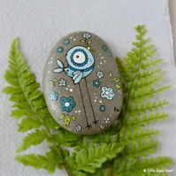 painted pebble - big bluebird and blossom