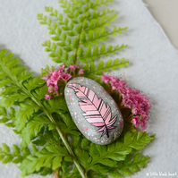 painted pebble - pink feather (ii)