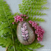 painted pebble - pink feather (i)