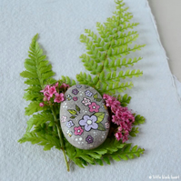 painted pebble - bees and blooms