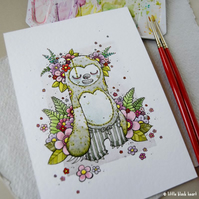 fancy floral zombie sloth - original A6 illustration