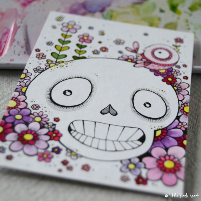 skull, bird and blooms- original aceo