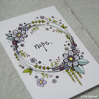 floral wreath - nope. - original aceo