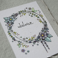 floral wreath - whatever - original aceo