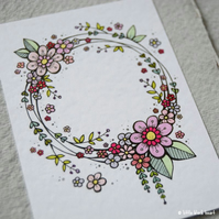customise your own - floral wreath original aceo