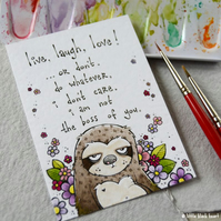 apathy sloth - original aceo