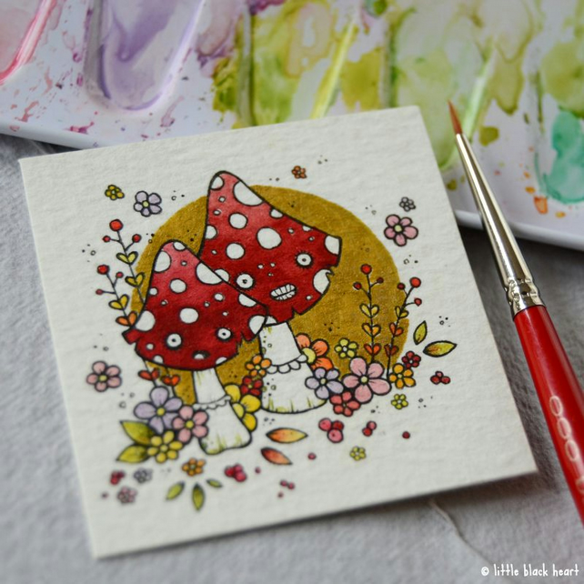 autumnal toadstools - original twinchie