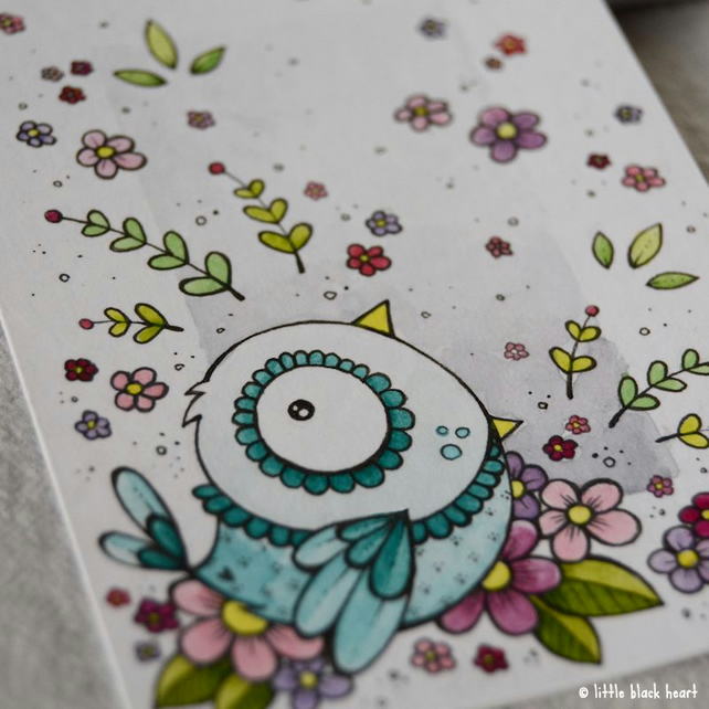 songbird and blooms - original aceo