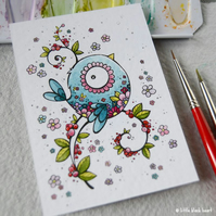 tattoo bird (blue) - original aceo