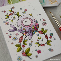 tattoo bird (purple) - original aceo