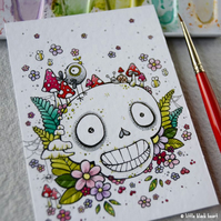 little woodland skull - original aceo