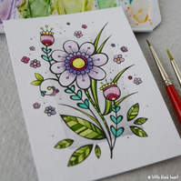 big spring blooms - original aceo