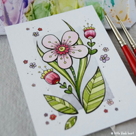 big spring bloom - original aceo