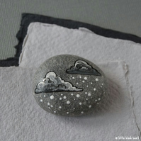 snow cloud 1 - painted pebble