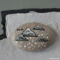 snow cloud 2 - painted pebble
