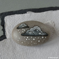 snow cloud 4 - painted pebble