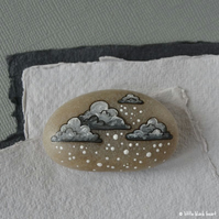 snow cloud 5 - painted pebble