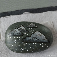 snow cloud 6 - painted pebble