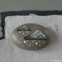 snow cloud 7 - painted pebble
