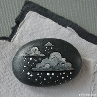 snow cloud 8 - painted pebble