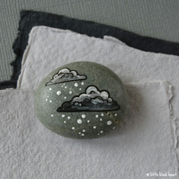snow cloud 9 - painted pebble