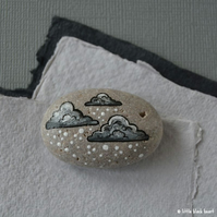 snow cloud 10 - painted pebble