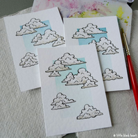 blue skies and fluffy clouds - original aceo